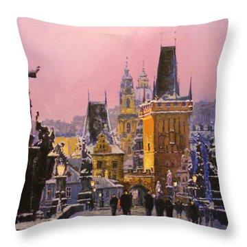 Prague Charles Bridge  Winter Evening Throw Pillow