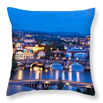 Prague Cityscape At Night Throw Pillow