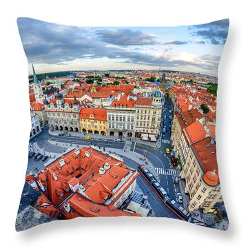 Prague From Above Throw Pillow