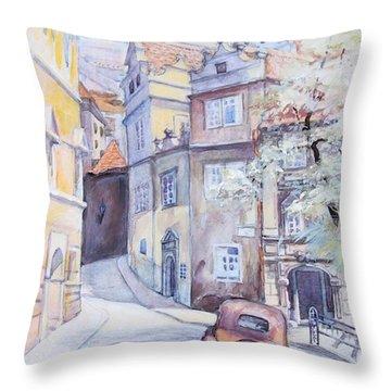 Throw Pillow featuring the painting Prague Golden Well Lane by Marina Gnetetsky