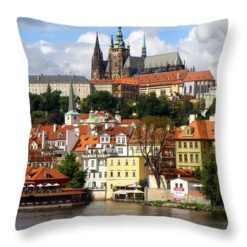 Throw Pillow featuring the photograph Prague Skyline by Ira Shander