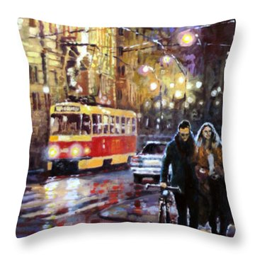 Prague Masarykovo Nabrezi Evening Walk Throw Pillow