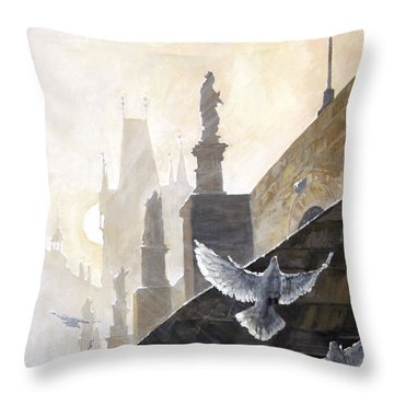 Prague Morning On The Charles Bridge  Throw Pillow