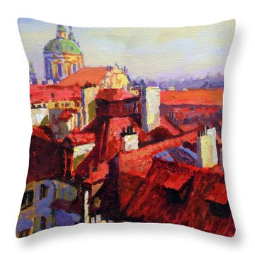 Prague Old Roofs 04 Throw Pillow