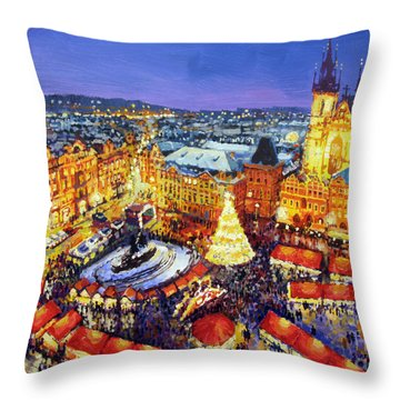 Prague Old Town Square Christmas Market 2014 Throw Pillow by Yuriy Shevchuk