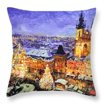 Prague Old Town Square Christmas Market Throw Pillow