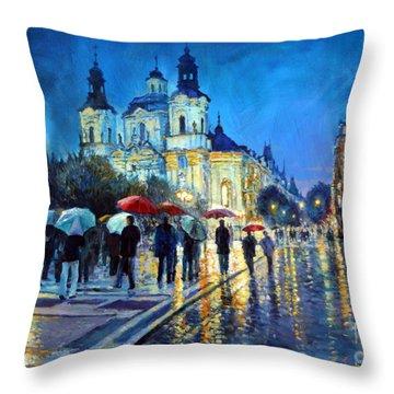 Prague Old Town Square  View Of Street Parizska And St.nicolas Church Throw Pillow