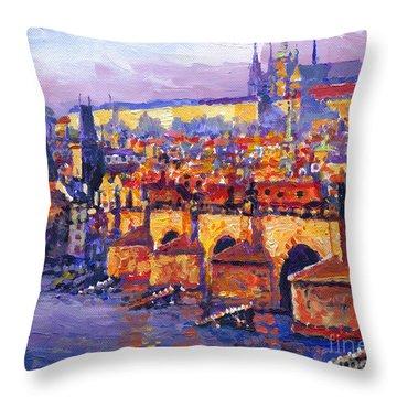 Prague Panorama Charles Bridge 06 Throw Pillow