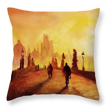 Prague Sunrise Throw Pillow by Ryan Fox