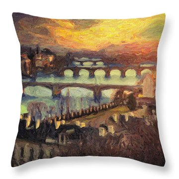 Prague Throw Pillow by Taylan Apukovska