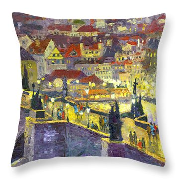 Prague Violet Panorama Night Light Charles Bridge Throw Pillow by Yuriy Shevchuk