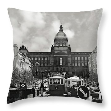 Prague Wenceslas Square And National Museum Throw Pillow by Christine Till