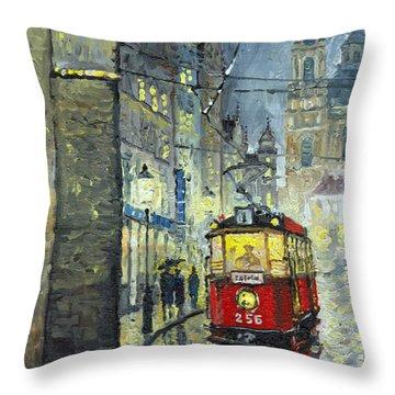 Praha Red Tram Mostecka Str  Throw Pillow by Yuriy  Shevchuk