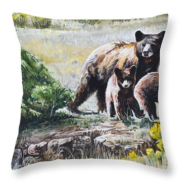 Prairie Black Bears Throw Pillow