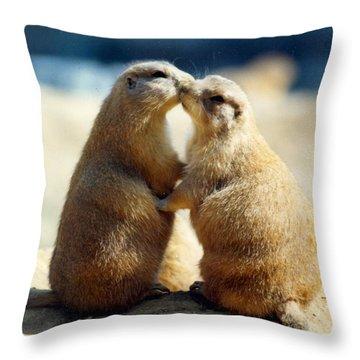 Prairie Dogs Kissing Throw Pillow