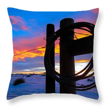 Prairie Fence Sunset Throw Pillow