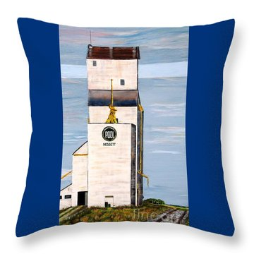 Prairie Icon - Manitoba Pool Elevator Throw Pillow by Marilyn  McNish