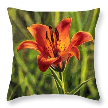 Prairie Lily Throw Pillow