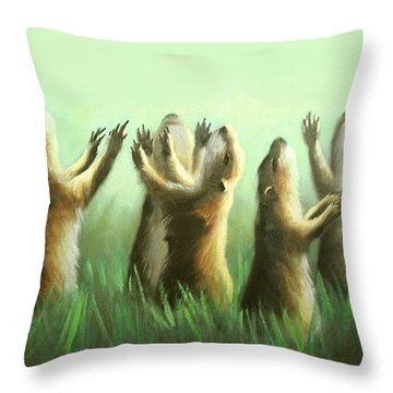 Throw Pillow featuring the painting Praising Prairie Dogs by Anthony Falbo