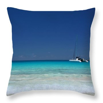 Praslin Island Catamaran Throw Pillow