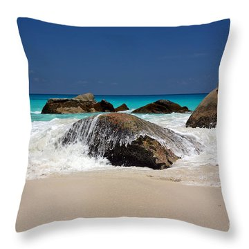 Praslin Island Waves Throw Pillow