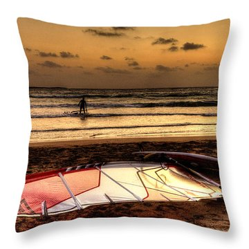 Throw Pillow featuring the photograph Prasonisi - A Day Of Windsurfing Is Over by Julis Simo