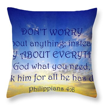Pray About Everything 1 Throw Pillow by Angelina Vick