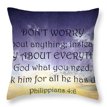 Pray About Everything 3 Throw Pillow by Angelina Vick