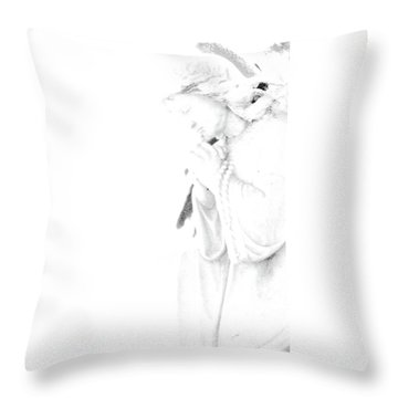 Pray Throw Pillow by Linda Shafer