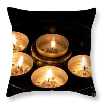 Prayer Candles In Notre Dame Throw Pillow