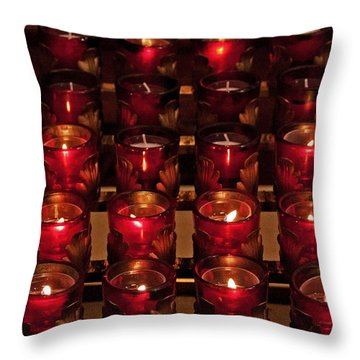 Prayer Candles Throw Pillow by Suzanne Stout