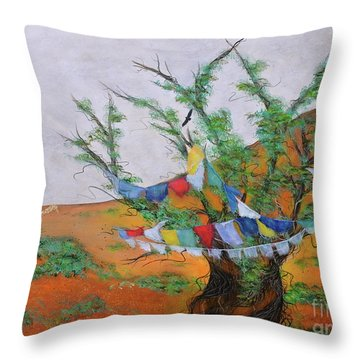Throw Pillow featuring the painting Prayer Flags by Deborha Kerr