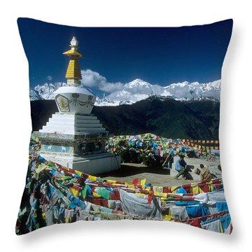 Prayer Flags In The Himalayan Mountains Throw Pillow