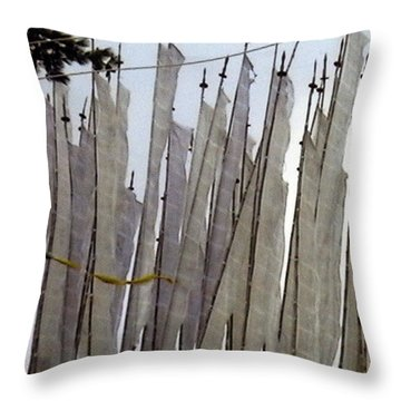 Prayer Flags Throw Pillow by Patrick Morgan