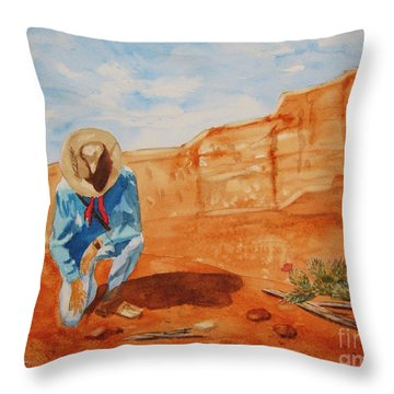 Throw Pillow featuring the painting Prayer For Earth Mother by Ellen Levinson
