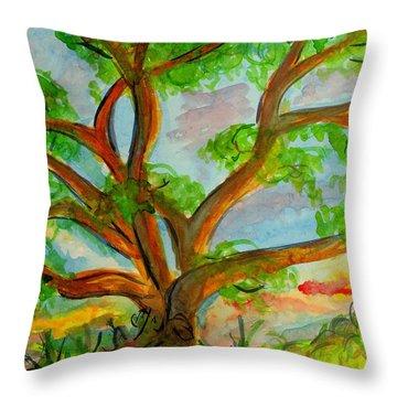 Prayer Mountain Tree Throw Pillow