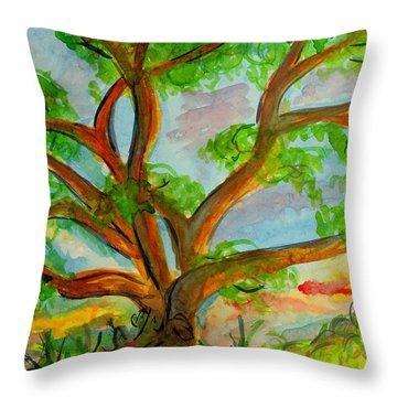 Prayer Mountain Tree Throw Pillow