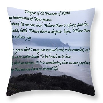 Prayer Of St Francis Of Assisi Throw Pillow
