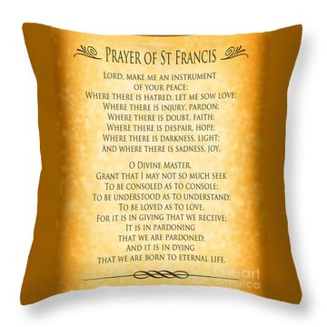 Prayer Of St Francis - Pope Francis Prayer - Gold Parchment Throw Pillow by Ginny Gaura