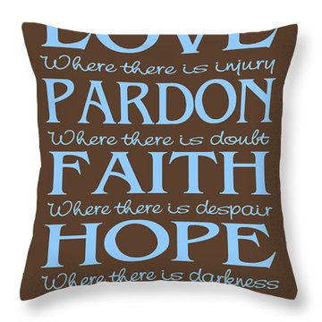 Prayer Of St Francis - Subway Style - Blue And Brown Throw Pillow