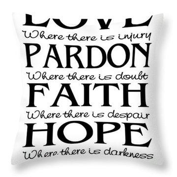 Prayer Of St Francis - Pope Francis Prayer - Subway Style Throw Pillow
