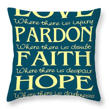 Prayer Of St Francis - Subway Style - Teal And Yellow Throw Pillow
