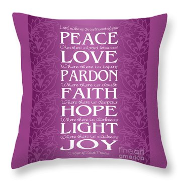 Prayer Of St Francis - Victorian Radiant Orchid Throw Pillow by Ginny Gaura