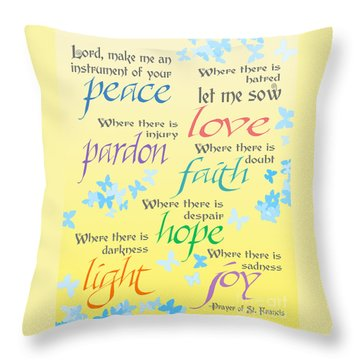 Prayer Of St Francis - Pope Francis Payer -yellow With Butterflies Throw Pillow by Ginny Gaura