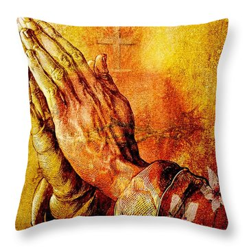 Praying Hands With Sacred Heart Throw Pillow