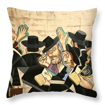 Throw Pillow featuring the painting Praying Rabbis by Anthony Falbo