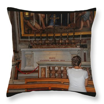 Praying To Pope John Paul II  Throw Pillow