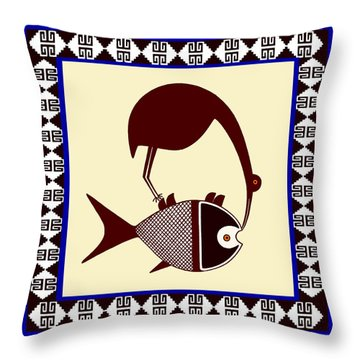 Pre-columbian Stork Fish Throw Pillow
