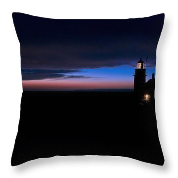 Pre Dawn Light Panorama At Quoddy Throw Pillow by Marty Saccone