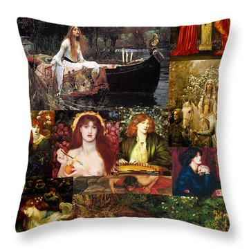 Pre Raphaelite Collage Throw Pillow by Philip Ralley